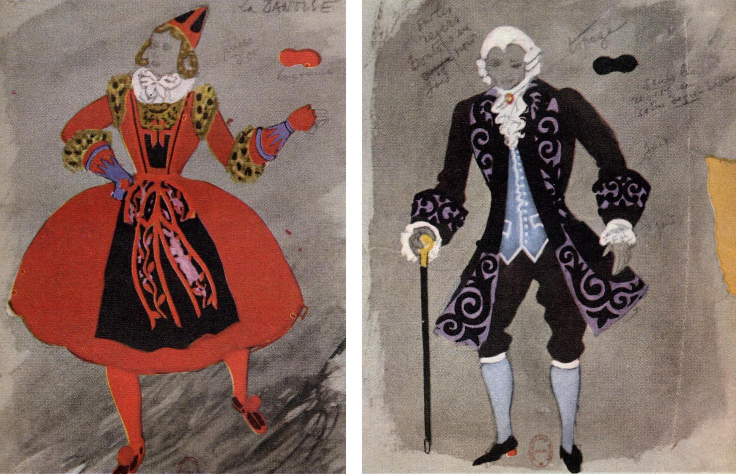 costumes de Chapelain-Midy pour les Caprices de Cupidon (à g. la Danoise    à dr. le Vieil Homme) 32b3adec764